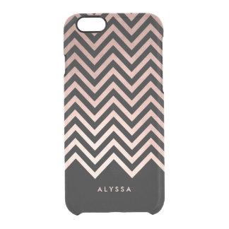 Falso oro color de rosa atractivo y Chevron negro Funda Clear Para iPhone 6/6S