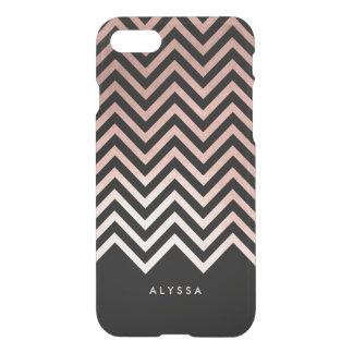 Falso oro color de rosa atractivo y Chevron negro Funda Para iPhone 7