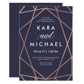 """Falso oro color de rosa geométrico en el boda azul invitación 5"""" x 7"""""""