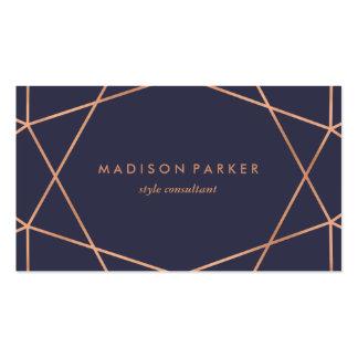 Falso oro color de rosa moderno geométrico en azul tarjetas de visita