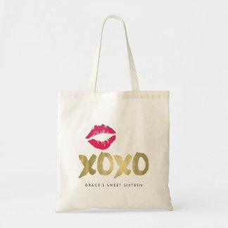 Falso oro de XOXO y labios rosados Bolsa Tela Barata
