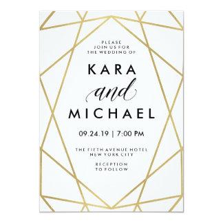 "Falso oro moderno minimalista en blanco invitación 5"" x 7"""
