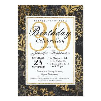"""Falso oro ostentoso elegante, negro, y floral gris invitación 5"""" x 7"""""""