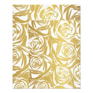 """falso oro, rosas, modelo, art déco, hermoso, folleto 4.5"""" x 5.6"""""""