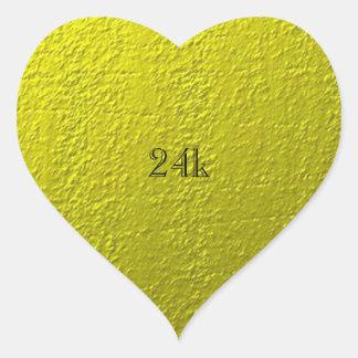 Falso oro sólido de encargo 24k pegatina en forma de corazón