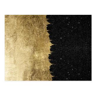 Falso oro y pinceladas negras de la noche tarjeta postal