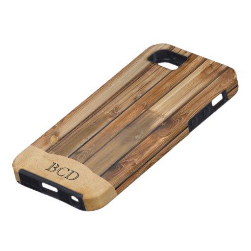 Falso) país rústico de madera con monograma del iPhone 5 fundas