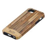 Falso) país rústico de madera con monograma del pe iPhone 5 fundas
