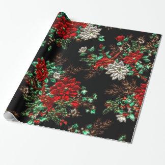 Falso papel de embalaje brillante floral metálico papel de regalo