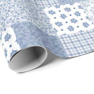Falso papel de embalaje del remiendo del añil papel de regalo