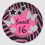 FALSO pegatina de plata negro rosado del dulce 16