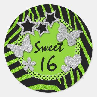 FALSO pegatina de plata negro verde del dulce 16 d