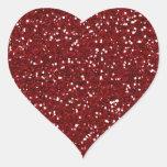 Falso) pegatina rojo del corazón del brillo (