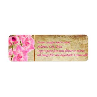 Falso pergamino de PixDezines/orquídea rosada del  Etiquetas De Remite