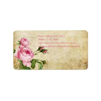 Falso pergamino de PixDezines +rosas del vintage Etiqueta De Dirección