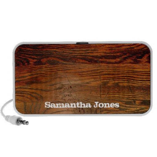 Falso personalizado personalizado tablón de madera iPhone altavoces