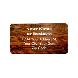 Falso personalizado personalizado tablón de madera etiqueta de dirección