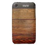 Falso personalizado personalizado tablón de madera iPhone 3 fundas