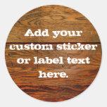 Falso personalizado personalizado tablón de madera etiqueta redonda