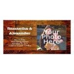 Falso personalizado personalizado tablón de madera tarjeta personal con foto