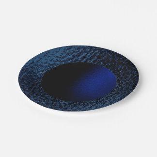 Falso placa-Diseño de medianoche 2 del papel azul Plato De Papel De 7 Pulgadas