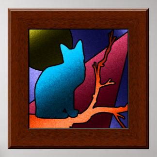 Falso poster del arte del gato del vitral
