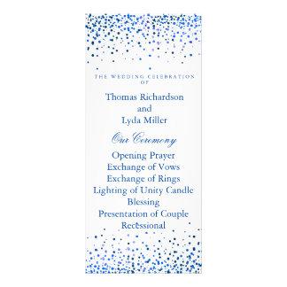 Falso programa del boda de la hoja del confeti lona personalizada
