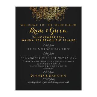 Falso programa del boda de la lámpara del oro de lienzo envuelto para galerias