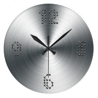 Falso reloj de pared moderno cepillado del acero d