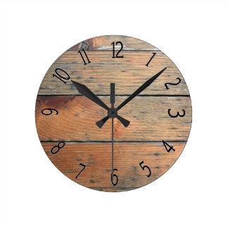 Falso revestimiento de madera de madera de Brown Reloj Redondo Mediano