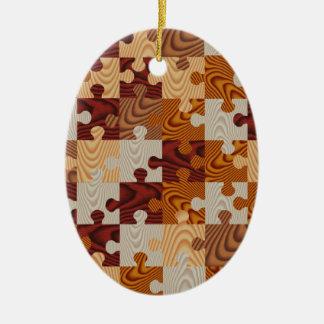 Falso rompecabezas de madera adorno navideño ovalado de cerámica