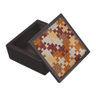 Falso rompecabezas de madera caja de recuerdo de calidad