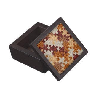 Falso rompecabezas de madera cajas de recuerdo de calidad