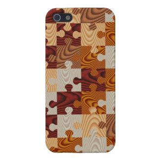 Falso rompecabezas de madera iPhone 5 carcasas