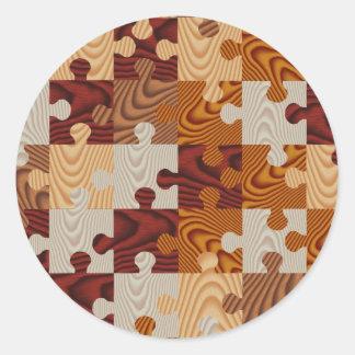 Falso rompecabezas de madera pegatina redonda