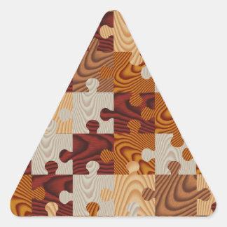 Falso rompecabezas de madera pegatina triangular