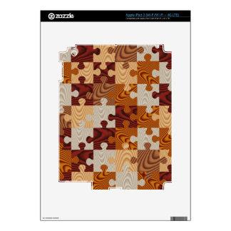 Falso rompecabezas de madera pegatinas skins para iPad 3