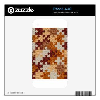 Falso rompecabezas de madera skin para el iPhone 4