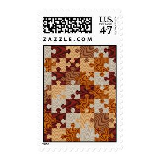 Falso rompecabezas de madera timbres postales