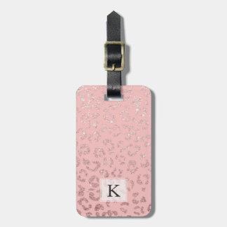 Falso rosa color de rosa moderno del ombre del etiquetas para maletas
