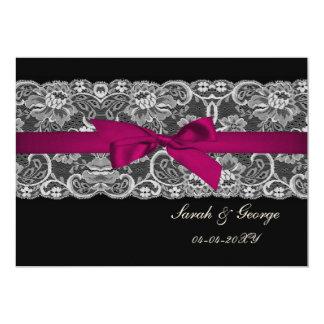 """Falso rosa del cordón y de la cinta, reserva del invitación 5"""" x 7"""""""