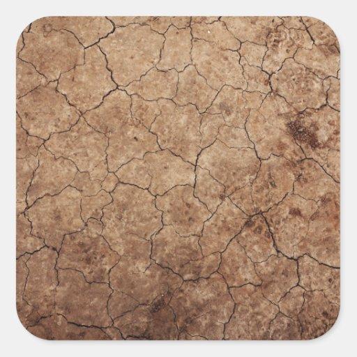 Falso seco y agrietado de la suciedad texturizado pegatina cuadrada
