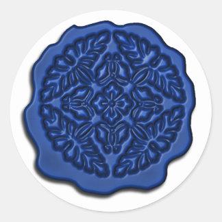 Falso sello de la cera, azul pegatina redonda