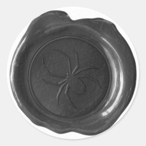 Falso sello de la cera - negro - ARAÑA Pegatina Redonda