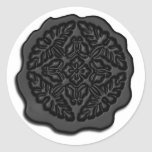 Falso sello de la cera, negro pegatinas redondas