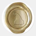 Falso sello de la cera - oro - GORRA de SANTA Pegatina Redonda