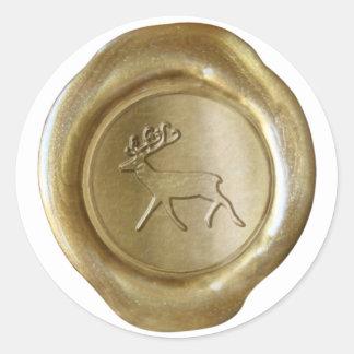 Falso sello de la cera - oro - RENO Pegatina Redonda
