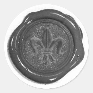 Falso sello de la cera pegatina redonda