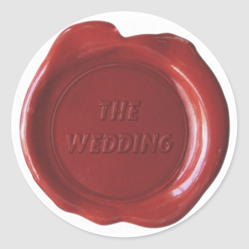 "Falso sello de la cera - rojo sangre - ""el boda "" pegatina redonda"