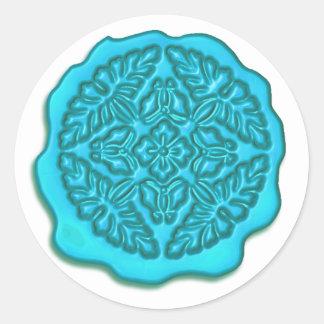 Falso sello de la cera turquesa pegatina